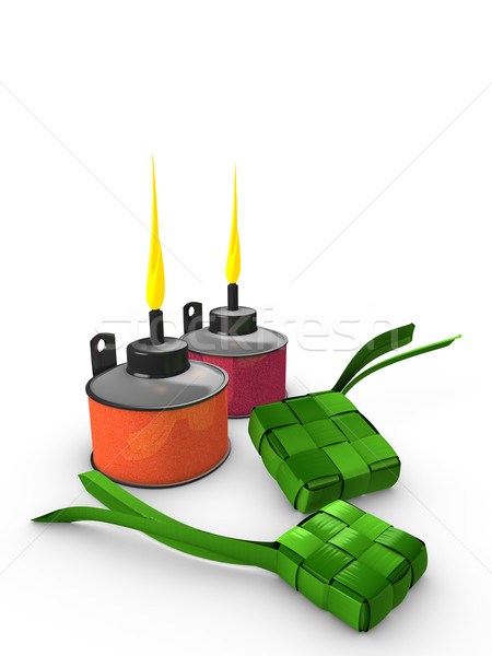 ... photo : 3d image, Conceptual, Pelita (Oil lamp) & Ketupat (Dumpling