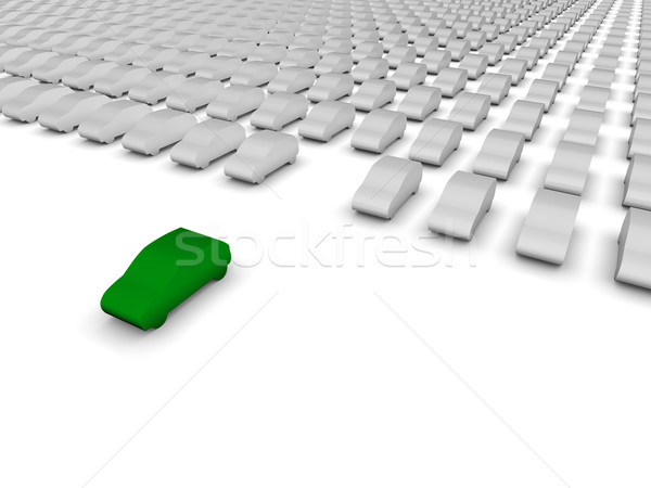 Stock photo: Green car leaving the parking lot