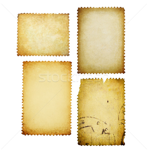 Stock photo: Vintage post stamps with different shapes isolated set.