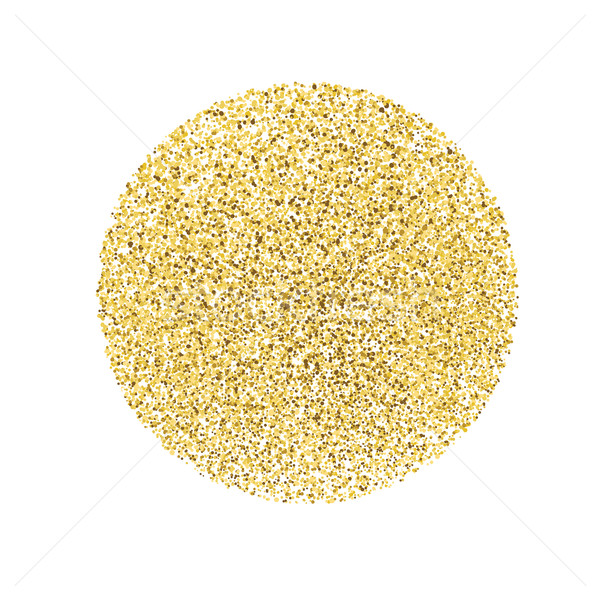 Circle With Gold Glitter Particles On White Background