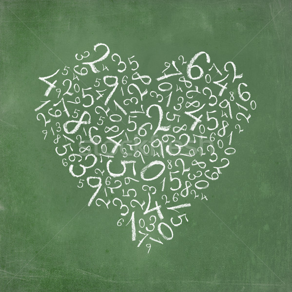 Stock photo: Love of mathematics: heart shaped simple numbers on school-board texture.