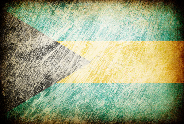 Stock photo: Grunge rubbed flag series of backgrounds. Bahamas.