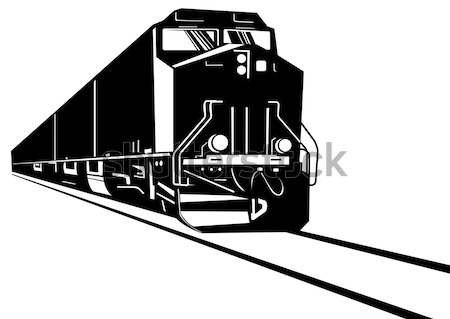 Stock photo: Train diesel sketch front view