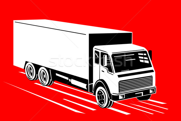 Stock photo : Illustration of white truck top view isolated on red