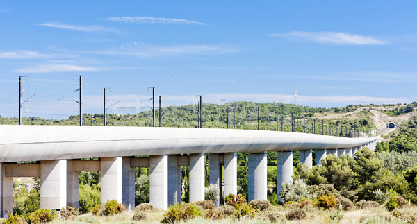 Stock photo: railway viaduct for TGV train near Vernegues, Provence, France