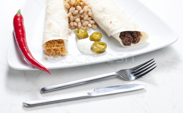Stock photo: beef burritos with beans and rice