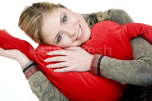Stock photo: portrait of woman holding a heart