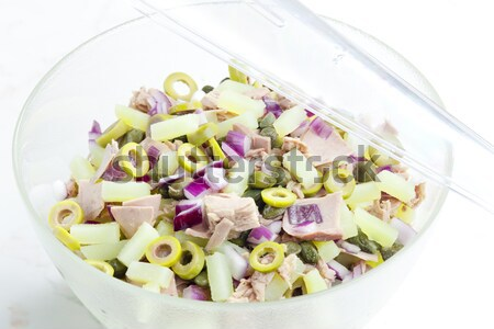 Stock photo: Mediterranean potato salad with tuna fish