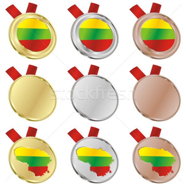 Stock photo: lithuania vector flag in medal shapes