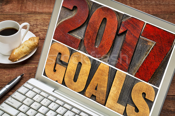 Stock photo: 2017 goals banner in wood type