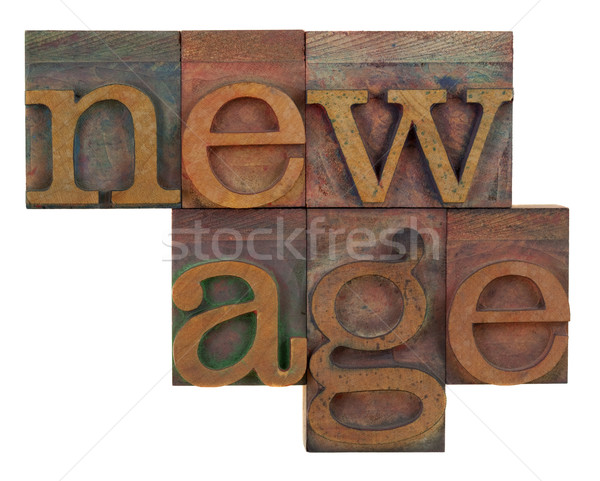 Stock photo: new age in wooden type