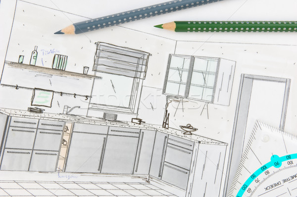 Plan scribble of a modern fitted kitchen stock photo © Harald