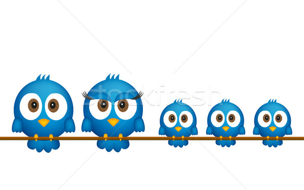 Stock photo: Blue birds family