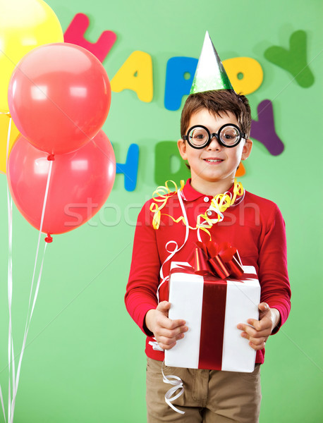 Stock photo: Boy with giftbox