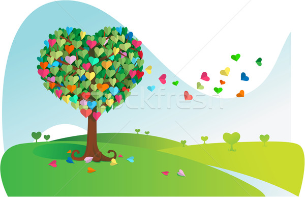 Stock photo: Colorful Love Tree