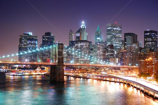 Stock photo new york city manhattan skyline and brooklyn bridge with