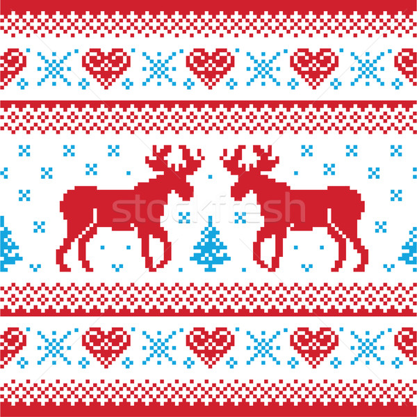: Red and blue Xmas seamless background with reindeer - nordic style