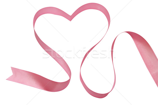 Stock photo: Heart from a pink tape - a symbol of love