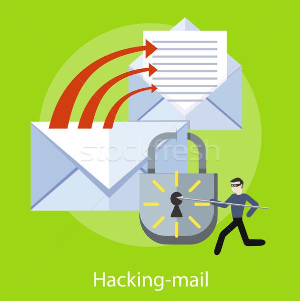 Взлом и спама в электронной почте - векторный клипарт.