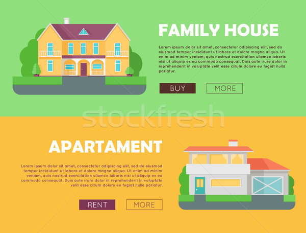 Family house concept. Modern apartment concept. Set of website templates. Modern apartment building in flat. Colorful residential hous. Home, building, house exterior, real estate, modern house.