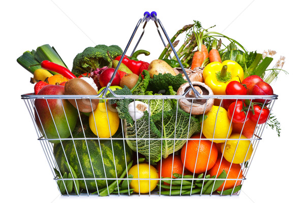 Stock photo: Shopping basket fruit and vegetables isolated on white