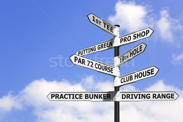 Stock photo: Golf course signpost