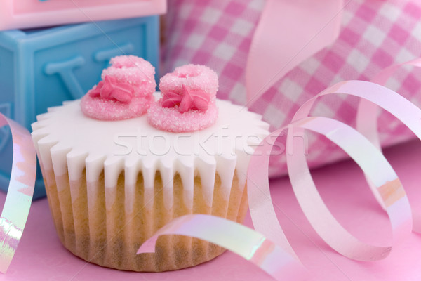 Stock photo: Cupcake for a baby shower