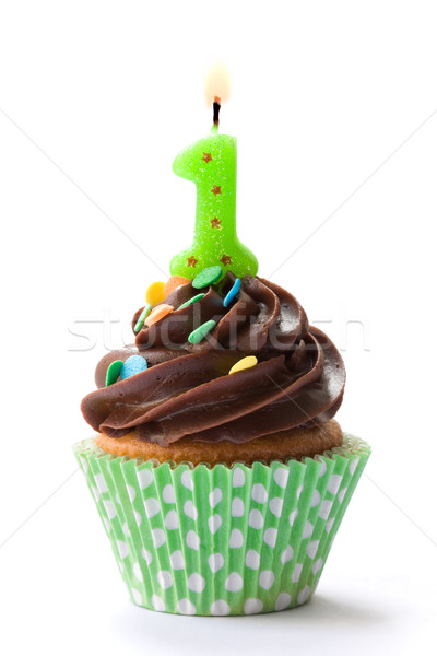 Stock photo: First birthday cupcake