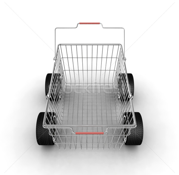 Stock photo: Shopping basket with wheels