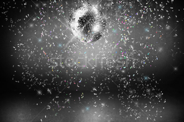 Stock photo: Disco ball with lights and confetti party background