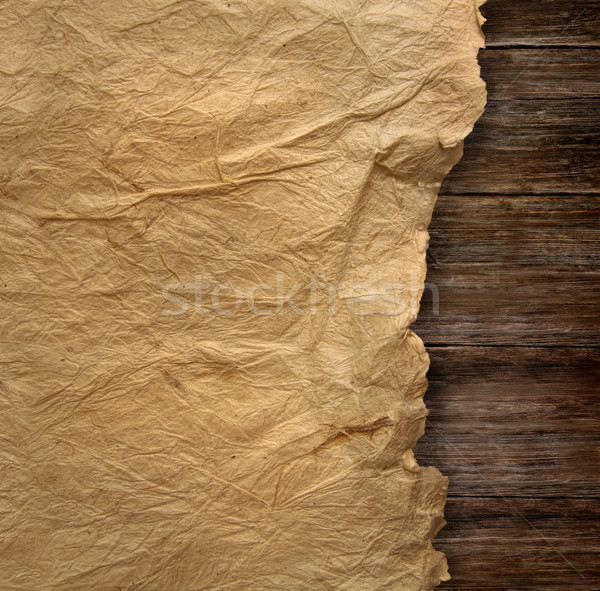 Stock photo: Closeup of  wrinkled parchment paper