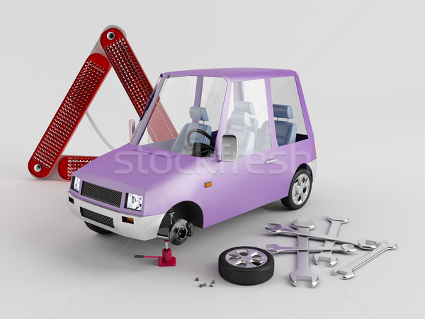 Stock photo: Replacement of wheels