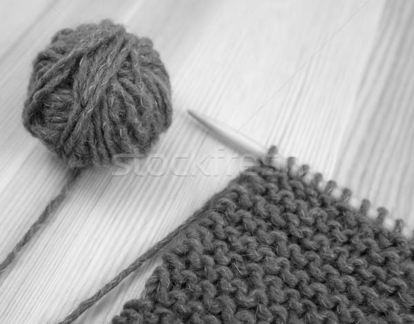 Knitting Stitch Orientation : Closeup of garter stitch knitting and wool stock photo ? Sarah Marchant (sara...