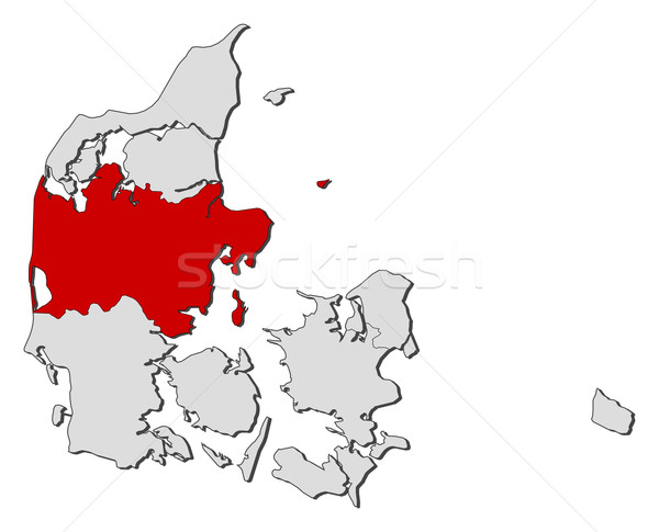 Stock photo: Map of Danmark, Central Denmark highlighted