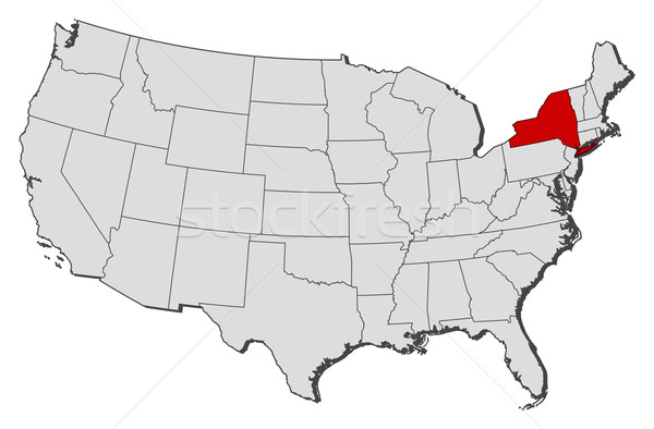 New York (NY) United States  City pictures : ... United States with the several states where New York is highlighted