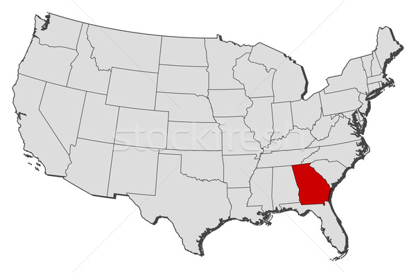 Map of the United States Georgia highlighted vector illustration – Map Usa Georgia