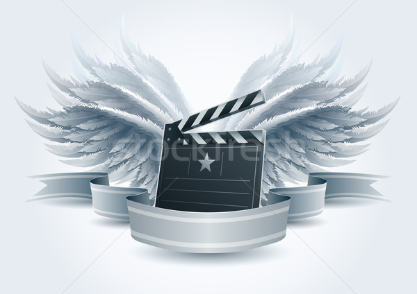 Stock photo: Winged clapboard banner.