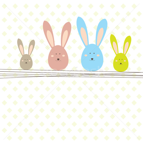 Stock photo: Easter card with rabbit . Vector illustration