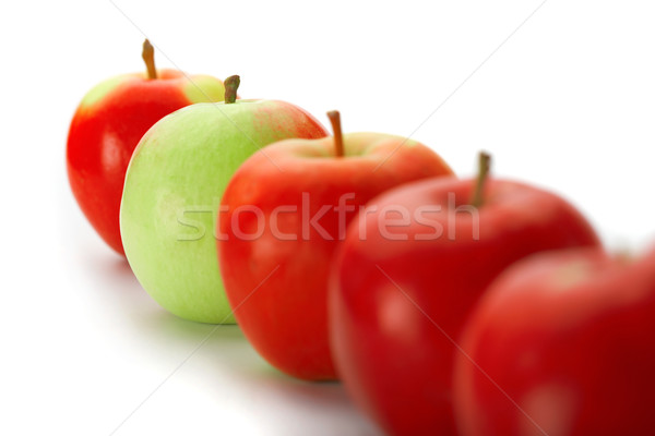 Stock photo: Group of red apples with one green one