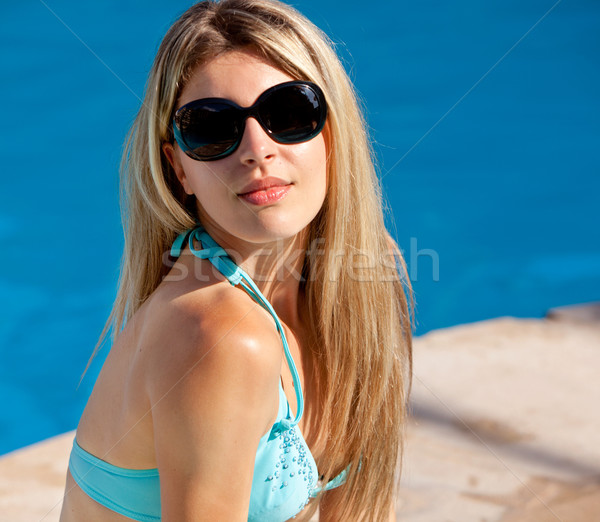 stock photography models. Stock photo: Pool Model with Sunglasses