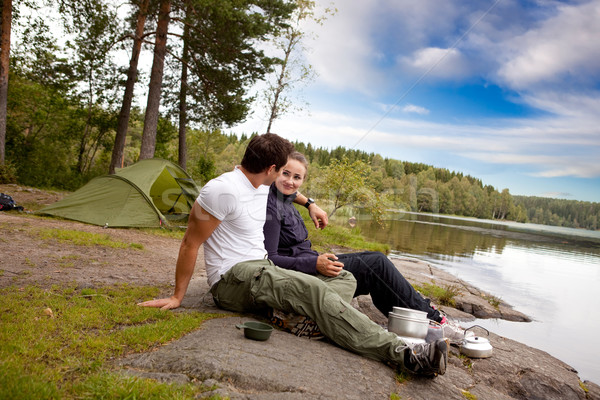 Stock photo: Man and Woman Camping