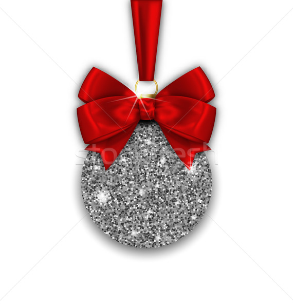 Stock photo: Glitter Christmas Ball and Red Bow Ribbon with Silver Surface