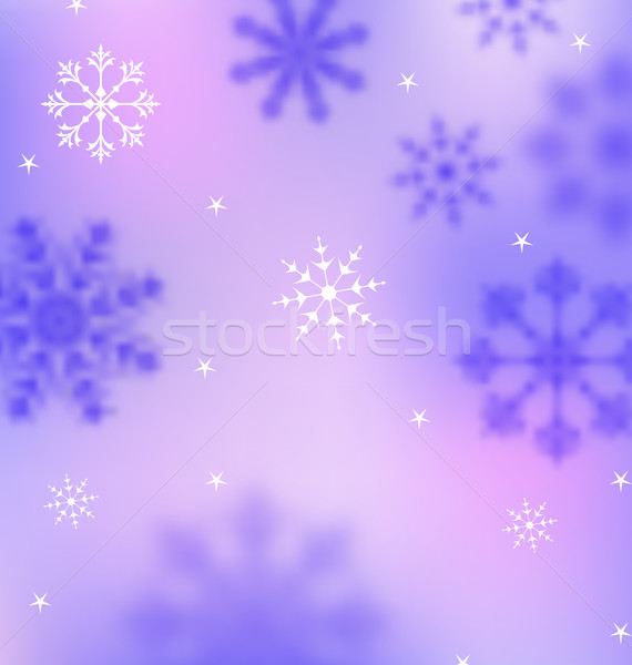 Stock photo: Winter Wallpaper with Snowflakes, Blurred Banner