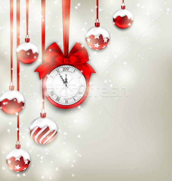 Stock photo: New Year Magic Background with Clock and Glass Balls
