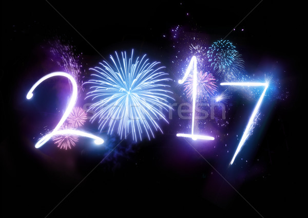 Stock photo: 2017 Happy New Year Fireworks
