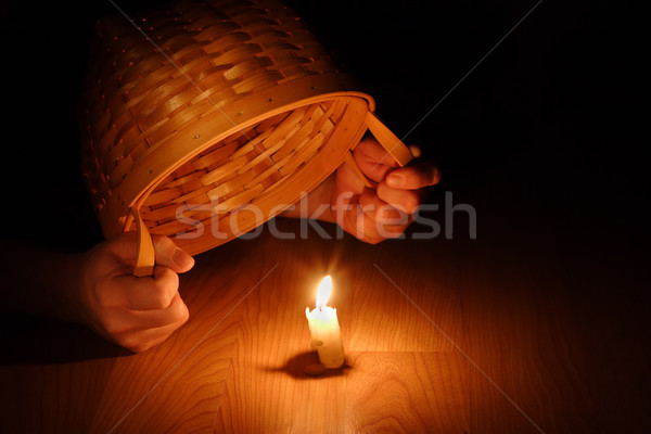 Stock photo: Shining Light (Biblical concept-Hiding your light under a bushel