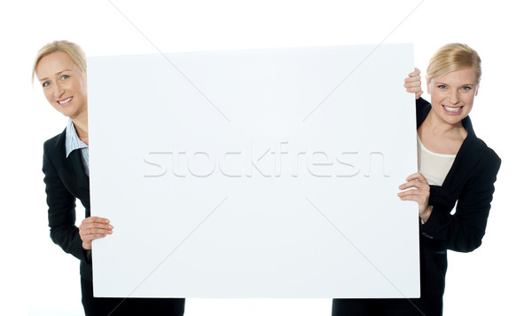 Stock photo: Female business representatives presenting blank banner ad