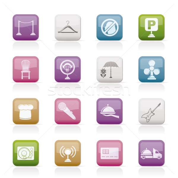 Stock photo: restaurant, cafe, bar and night club icons