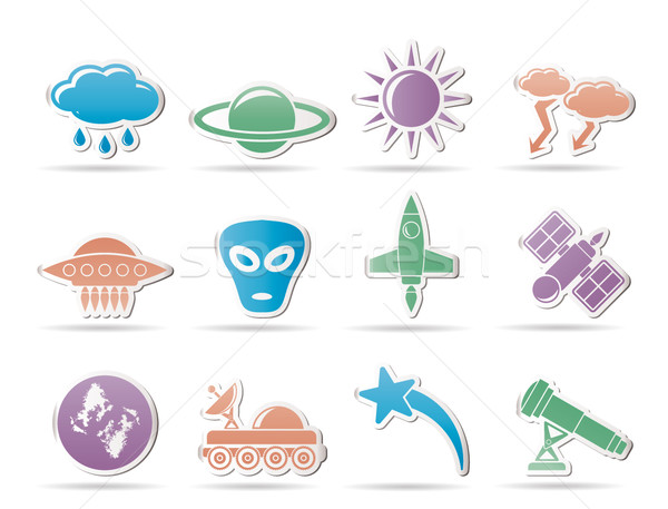 Stock photo: Astronautics and Space and univerce Icons