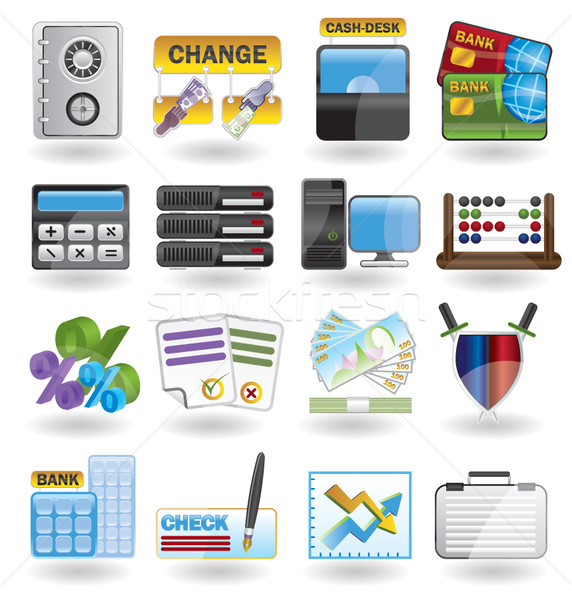 Stock photo: bank, business, finance and office icons